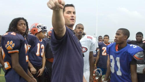 Former William Penn football coach Shawn Heinold directs his team to their position drills during a 2010 practice. William Penn opened the head football coaching position after a winless 2015 season, and Heinold indicated that he would not re-apply.