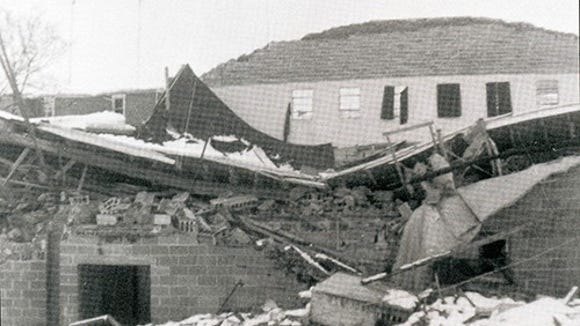Every small town has its terrible moments. In 1958, four feet of snow caused the collapse of the Charles Street gymnasium and auditorium. School custodian Lloyd Behrensen lost his life in the collapse of this then-10-year-old building.