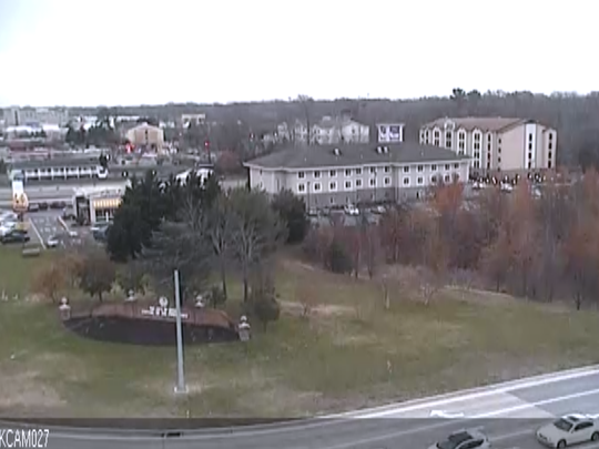 A DelDOT traffic camera at the intersection of U.S. 13 and Scarborough Rd. shows fire trucks at the Cedar Chase Apartments.
