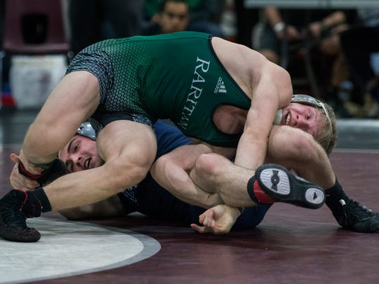 Howell's Kyle Slendorn vs Raritan's Russell Benson in 132 lbs final. 2018 Shore Conference Individual Championships at Red Bank Regional on January 27, 2018.
