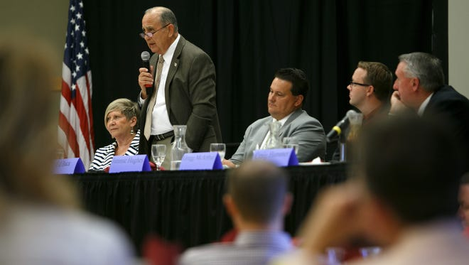 St. George City Council candidate Ed Baca addresses the audience during a debate at the St. George Chamber of Commerce luncheon on the campus of Dixie State University.
