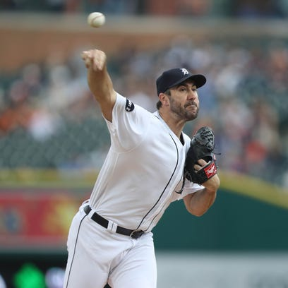 Detroit Tigers Justin Verlander pitches against the