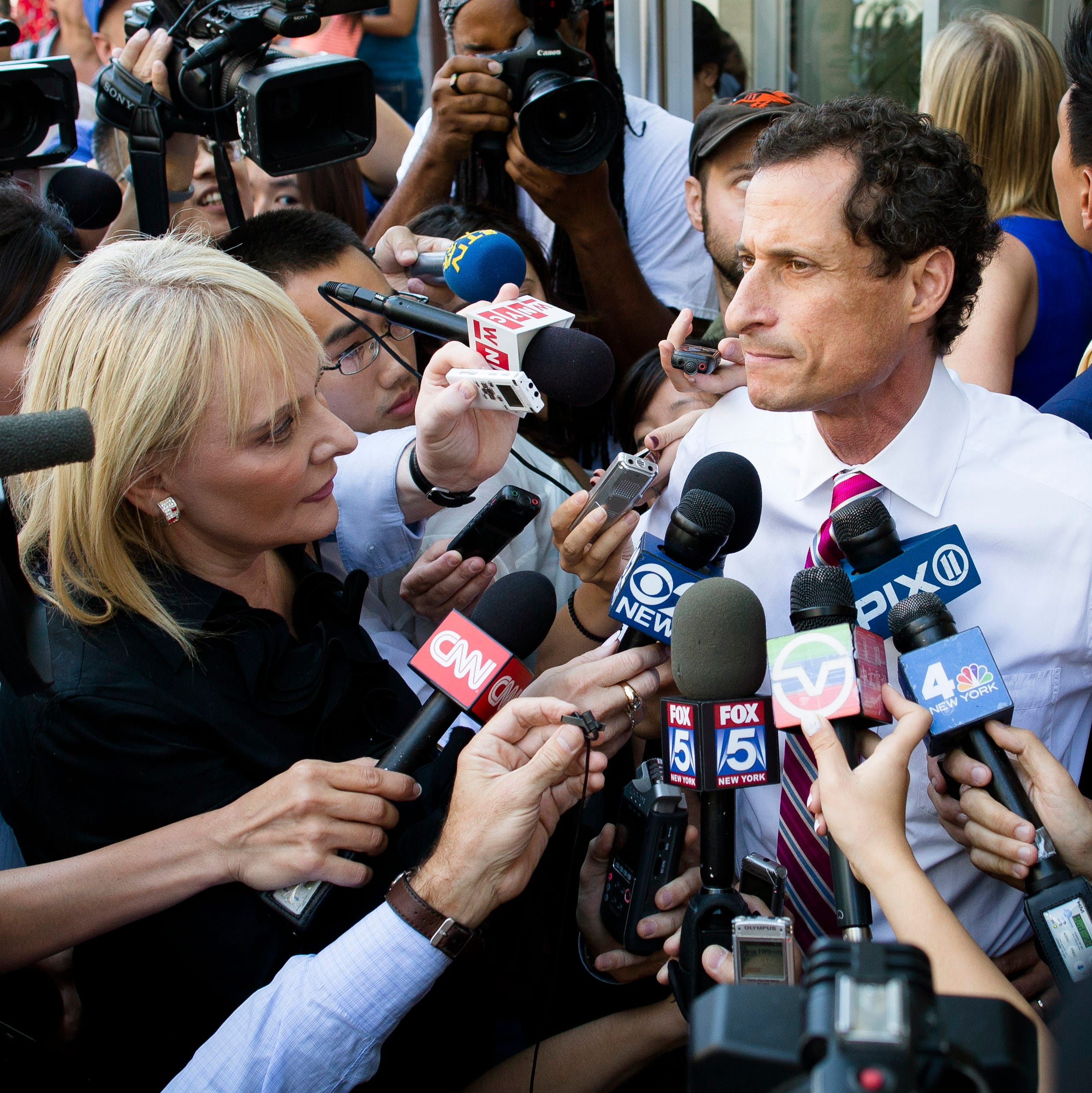 New York City mayoral candidate Anthony Weiner speaks to reporters after a campaign event in Queens in July.