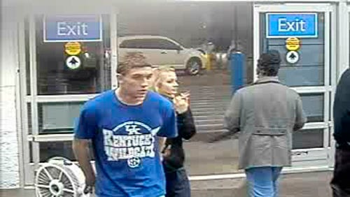 In this January 2015 photo made from surveillance video and released by the Grayson County Sheriff's Office, in Kentucky, 18-year-old Dalton Hayes and 13-year-old Cheyenne Phillips walk into a South Carolina Wal-Mart. Kentucky authorities say the two teenage sweethearts suspected in a crime spree of stolen vehicles and pilfered checks across the South have been apprehended in in Panama City Beach Florida early Sunday Jan. 18, 2015.