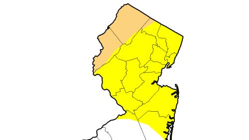The brown area is in a moderate drought and the yellow area is abnormally dry
