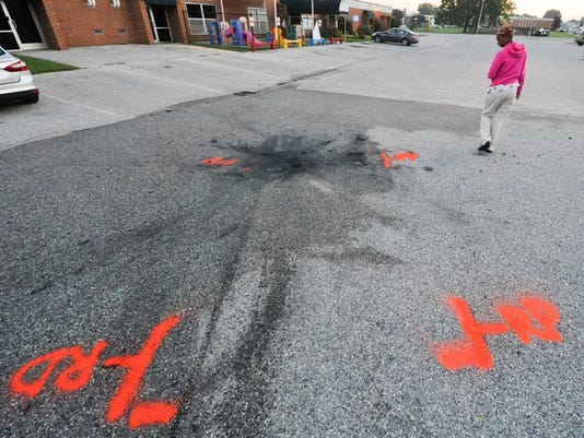 A scorch mark is left behind after a crash on Wednesday Night.