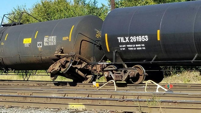 Two rail cars derailed in Paulsboro at Railroad Avenue and Pennline Road Tuesday.