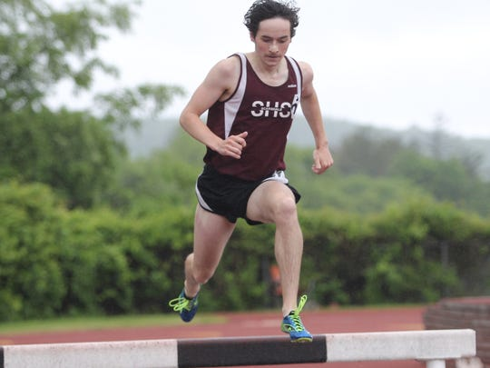 Scarsdale's Greg Crowley runs the 3000-meter steeplechase during the Section 1 Class A Track & Field Championships at Clarkstown South High School at West Nyack on Thursday, May 25, 2017.