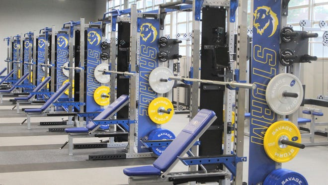 A set of 16 brand new weight racks is shown at the state-of-the-art training facility that is set to open at Southeastern Oklahoma State University.