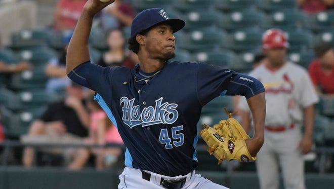 Hooks pitcher Yohan Ramirez pitches in the first inning of his Double-A  debut on Wednesday March, 24, 2017 at Whataburger Field.