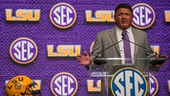Steve Ensminger beats out Joe Burrow in question duel for LSU's Orgeron at SEC Media Days