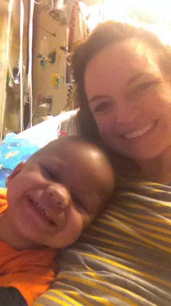 Brayden Kier and mom in the hospital.