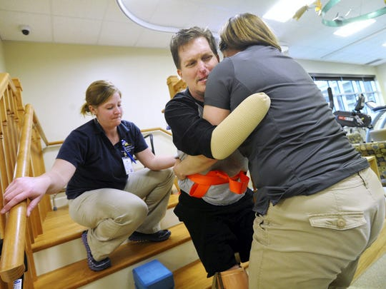 Wellspan physical therapist Jenny Reimold, right and