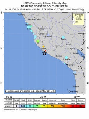 An intensity map released by the US Geological Survey on  January 14, 2018, indicates the epicenter of an earthquake near the coast of southern Peru.