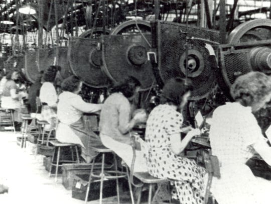 A photo from 1948 shows women working at the Remington