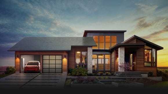 Tesla and SolarCity's planned solar roof, along with a Tesla Powerwall and a Model 3.