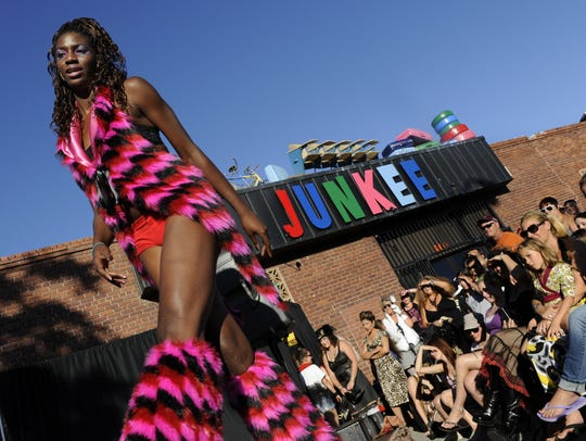 Shavon Moore struts her stuff during a Burning Man