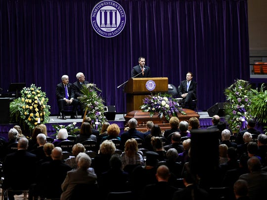 Reggie Gatewood talks about his father-in-law, former NSU President Randall J. Webb, at a memorial service Monday in Prather Coliseum.