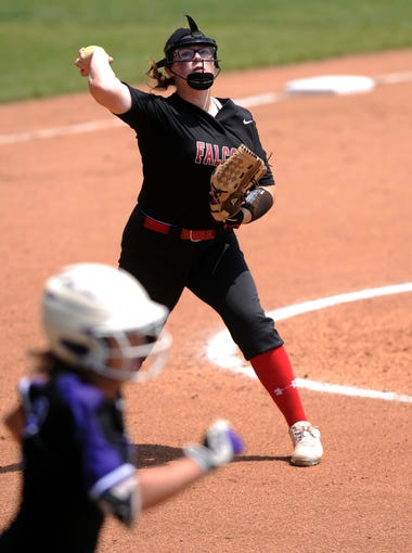 Fairfield Union pitcher Laiykn Teasley throws a Keystone runner out at first base Thursday, May 31, 2018, at Firestone Stadium in Akron. The Falcons lost the Division II state semi final 1-0.