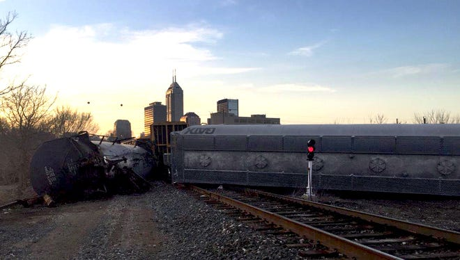 Wind was blamed for a train derailment at North College Avenue and Maryland Street Friday, Feb. 19, 2016.