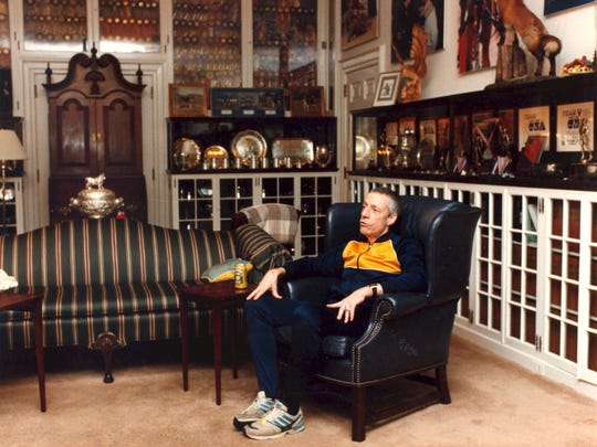 John du Pont in the trophy room of his mansion at Foxcatcher Farms in Newtown Square, Pa., in 1992. Less than four years later, du Pont would be under arrest for the murder of Dave Schultz.