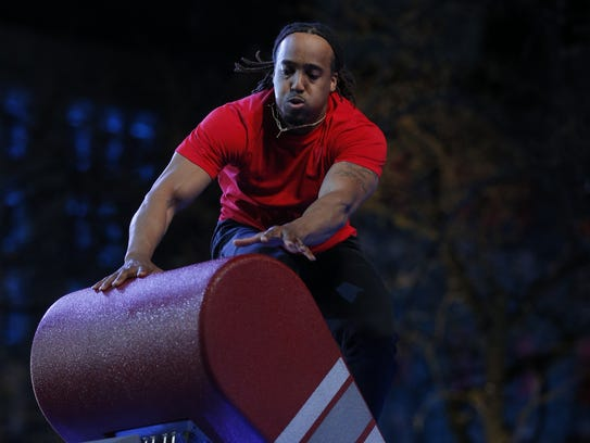 Mario Brown competes at the American Ninja Warrior
