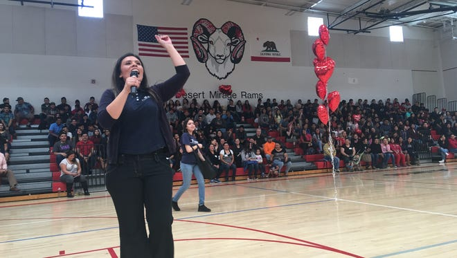 Luz Gallegos, Community Programs Director for TODEC Legal Center, speaks to students at Desert Mirage High School on Tuesday Feb. 14, 2017.