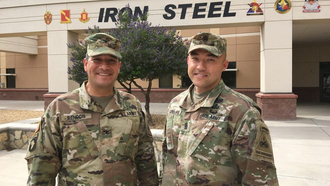 Col. Andy Rendon, left, and Command Sgt. Maj. John Condliffe have led DIVARTY for the past 23 months. They relinquish command Tuesday.