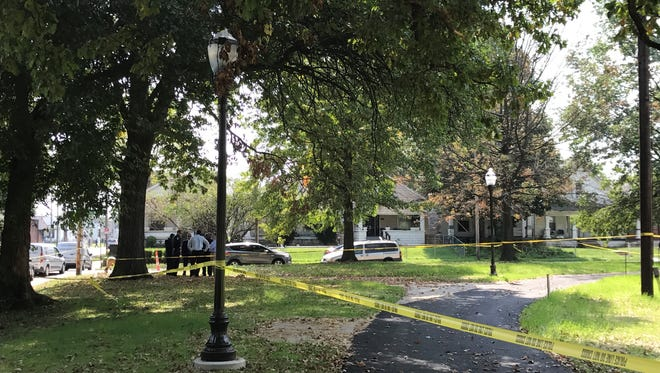 The scene of a shooting that occurred Thursday afternoon at Victory Park. Sept. 21, 2017