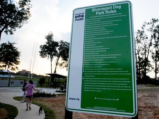 The Shreveport Dog Park Rules are posted outside the