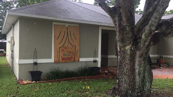 My neighbor, Dawn Howell, painted the plywood on her windows during the stormy summer of 2004.