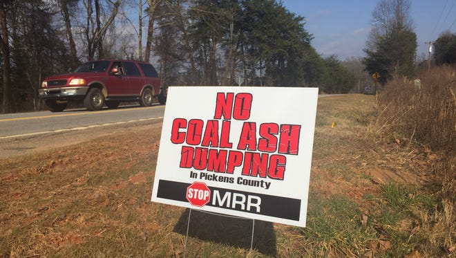 A sign expressing the sentiments of many Pickens County residents posted outside the site of a proposed coal ash landfill near Liberty in 2016.