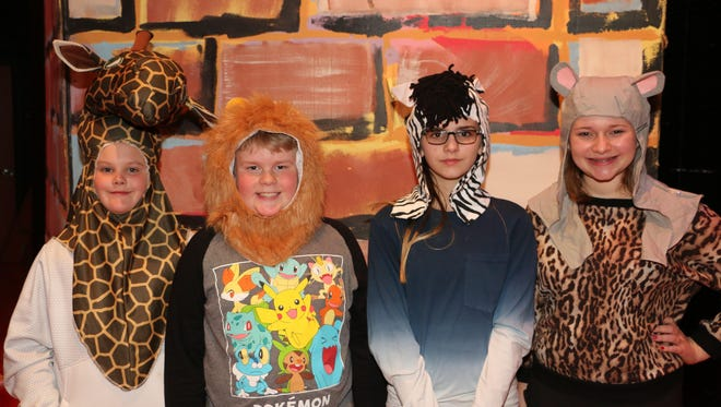 """Rehearsing for their upcoming """"Madagascar Junior"""" performances are, from left, Carter Ackley (Melman the Giraffe), Kael Kilmer (Alex the Lion), Brooke Smith (Marty the Zebra) and Hannah Butkiewicz (Gloria the Hip Hip Hippo)."""