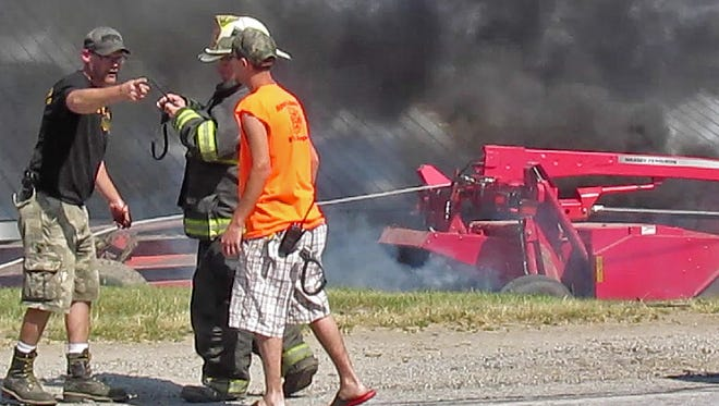 Crews respond to a crash on Route 207 in Swanton Sunday afternoon after 62-year-old Rene Lafromboise lost control and drove off the road. The truck he was driving and a adjacent barn caught fire.