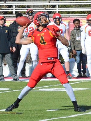 Ferris State quarterback Jayru Campbell throws during the team's spring game April 20, 2018 at Top Taggart Field in Big Rapids.
