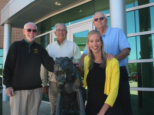 Representing the inaugural class of the Pennfield Hall of Fame, from left, Jay Moore Sr., Darrell VanVleet, Dave Hudson and Brooke (Hudson) Wells. The full class of 10 inductees will be honored at the football game at Pennfield on Friday.