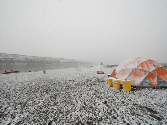 Researchers spent a month at the dig site along the Colville River on Alaska's North Slope, which meant they experienced a wide variety of weather, including snow.