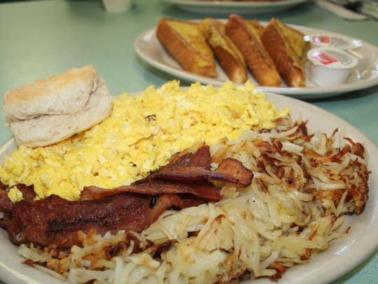 A speciality item at Arlene's Truck Stop is 'The Violator' - which features six eggs, potatoes, bacon, biscuit and french toast.