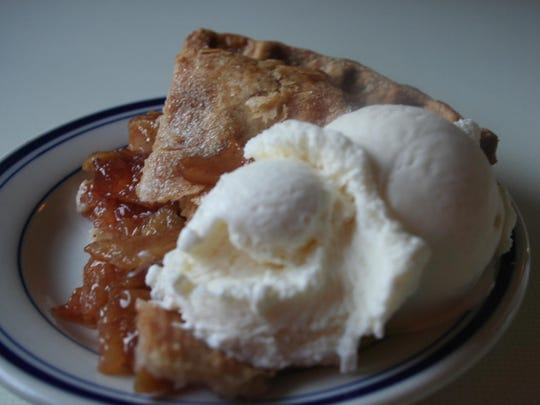 Homemade apple pie at George & Sally's Blue Moon Diner at Gilmore Car Museum.