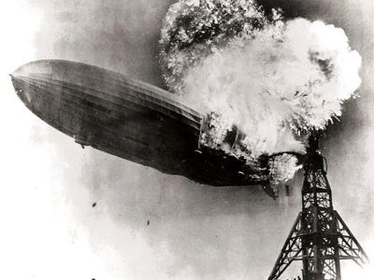 The moment the hydrogen keeping the German airship Hindenburg aloft ignited at then-Naval Air Station Lakehurst on the evening of May 6, 1937.