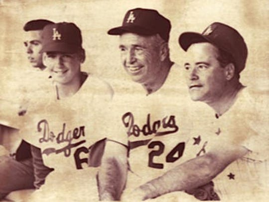 Rob Ogle, Dodgers manager Walter Alston and actor Jack Lemmon at Dodger Stadium. Rob is the grandson of Alston.