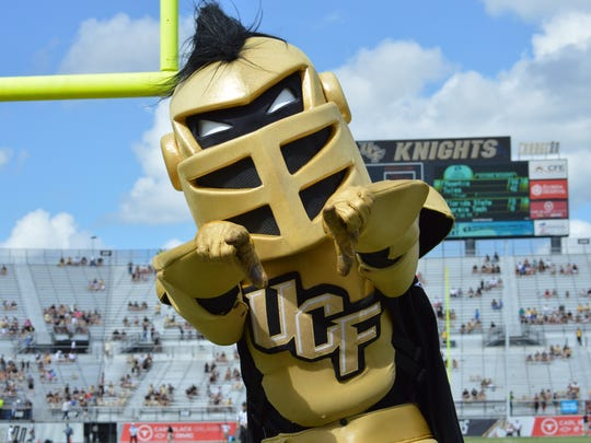 Knightro, Central Florida's mascot, at a 2015 football game.