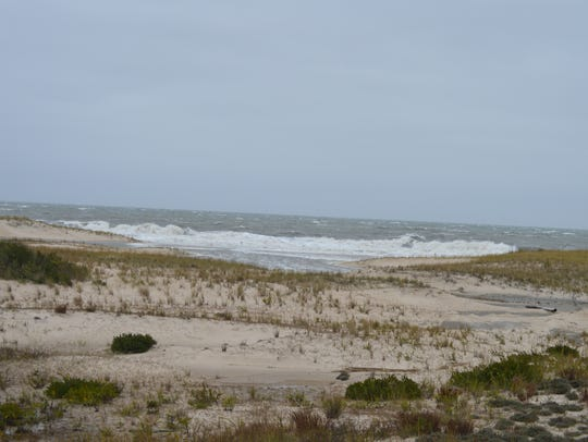 Waves break along the shoreline at Cape Henlopen State
