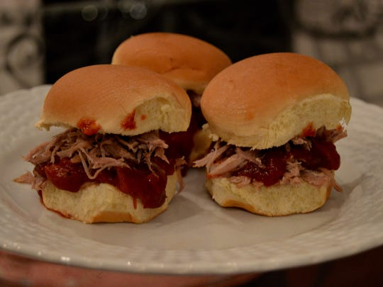Cranberry barbecue pulled pork sliders.
