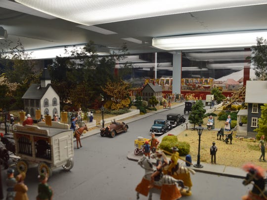 :  Street scene from the Hagenbeck-Wallace Circus Diorama at the French Lick West Baden Museum.