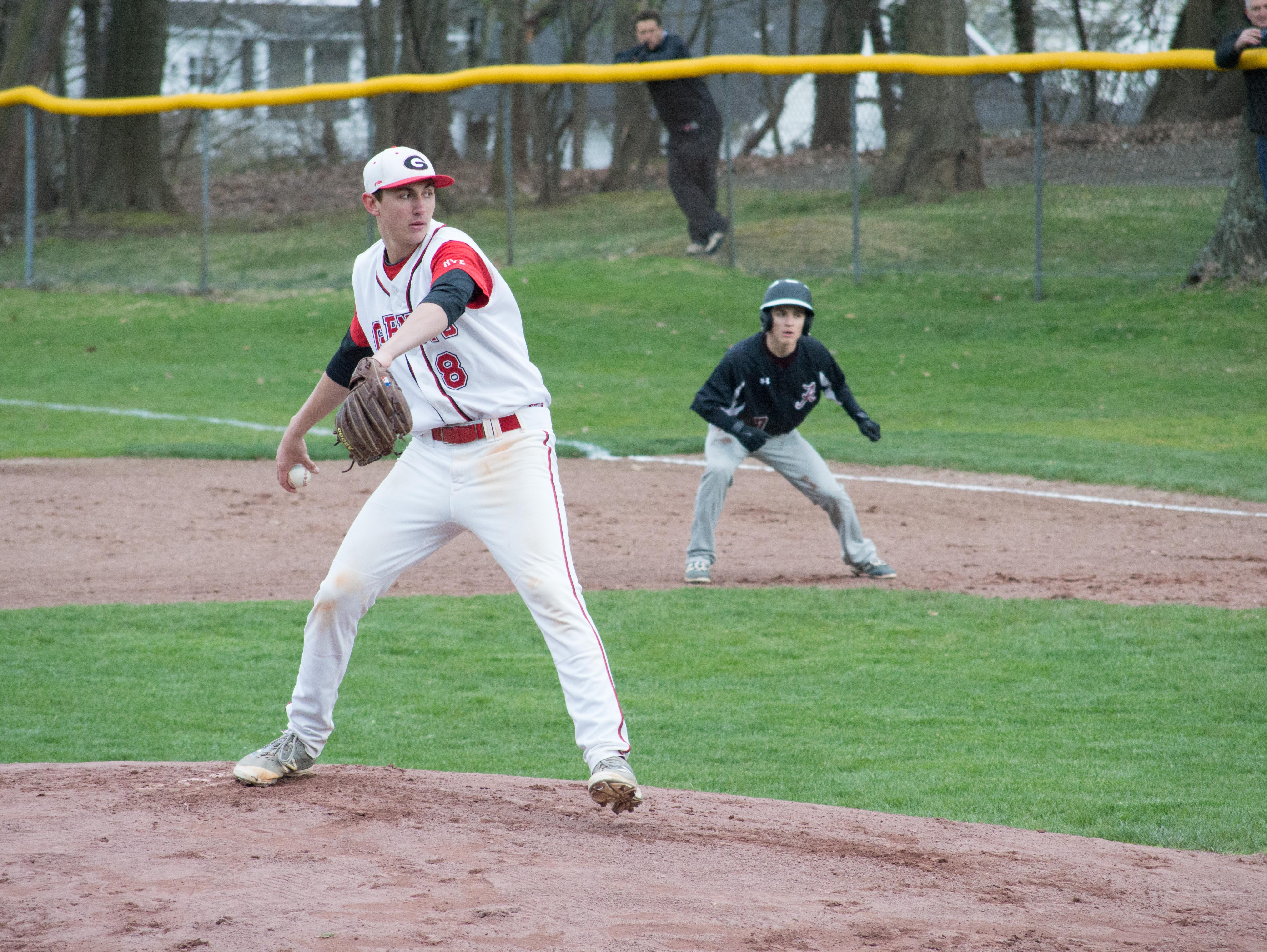 Rye pitcher George Kirby delivers a pitch in the first inning of a game against Albertus Magnus at Disbrow Park in Rye on April 8, 2016.
