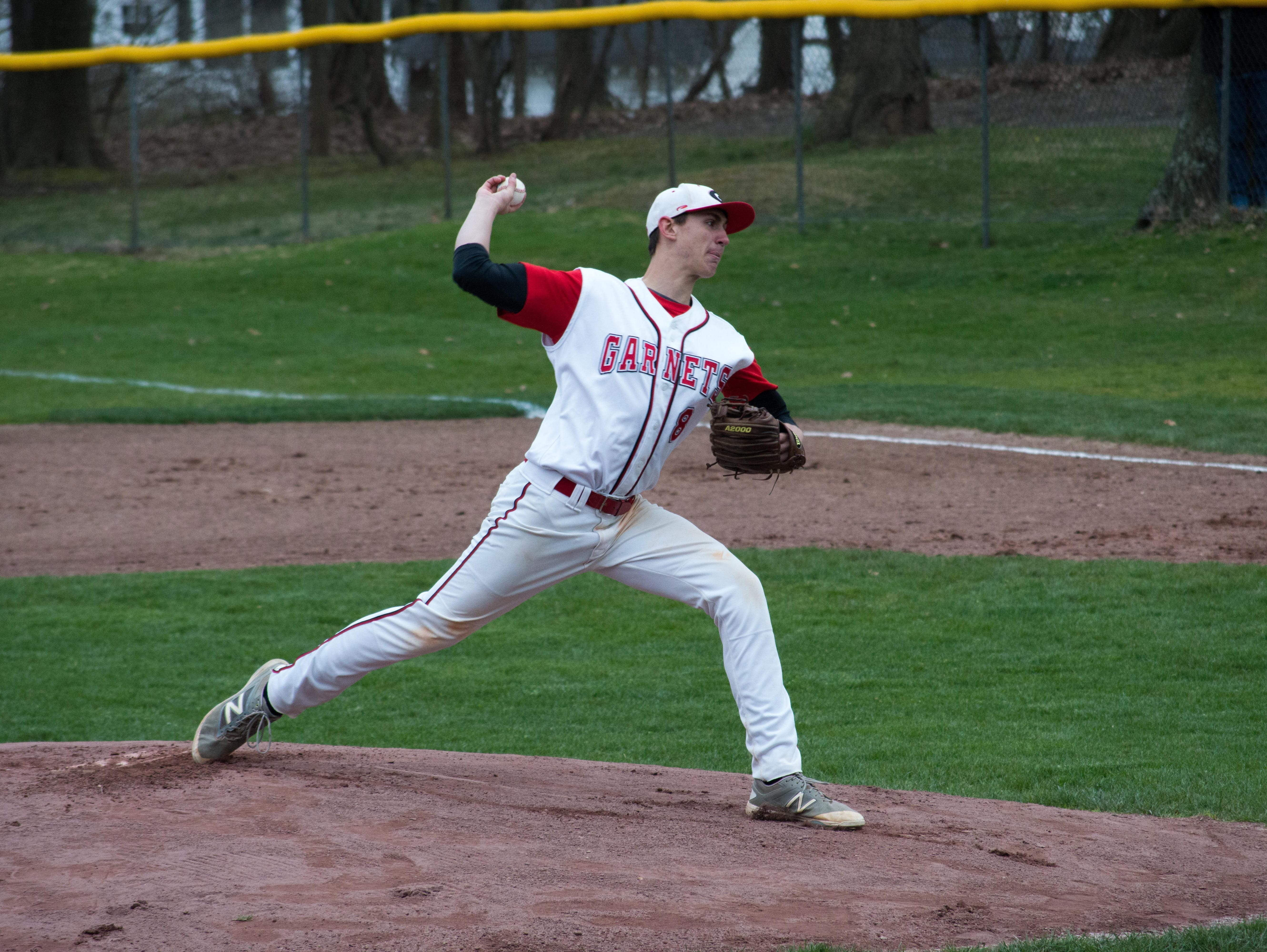 Rye pitcher George Kirby delivers a pitch in the first inning of Friday's game against Albertus Magnus at Disbrow Park in Rye.