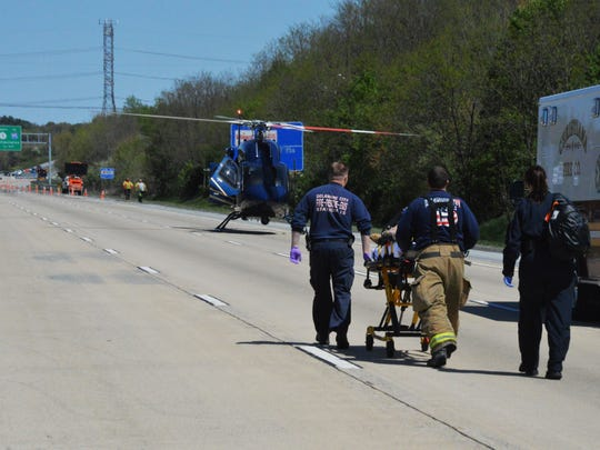 One woman was flown by state police helicopter to Christiana Hospital for her injuries.