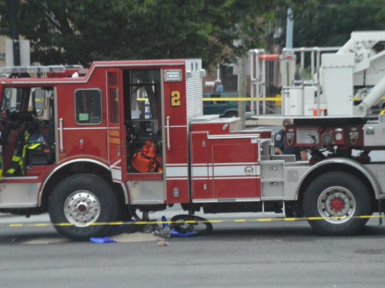 A 21-year-old male was struck by a Wilmington Fire Department truck Saturday, July 30.