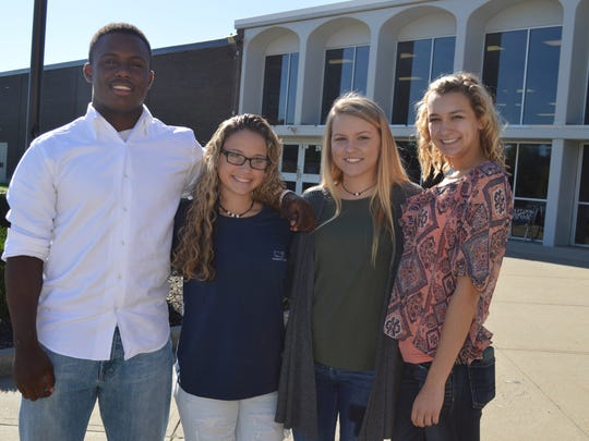 The sophomore homecoming court is from left: Skip Patterson, Alexis White, Ellie Payne and McKenzie Talley. Not pictured: Ethan Cartwright and Jackson Hogg.